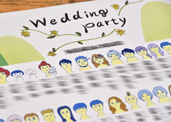おしゃれな結婚式を綴るコラム ファルベ オリジナル実例 こんな方法あったんだ 手書きデザインが席次表に変身