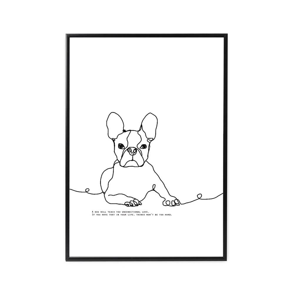 ファルベのインテリアポスター新作線画シリーズdog
