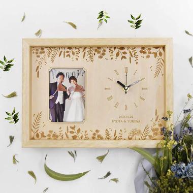 両親贈呈品フォトフレーム付き木製時計アルベロ