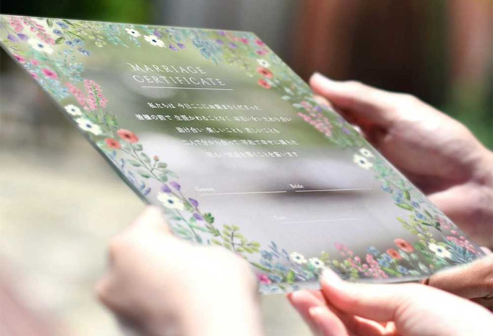 人前式やチャペル式・教会式に美しく映えるアクリルのおしゃれな結婚証明書
