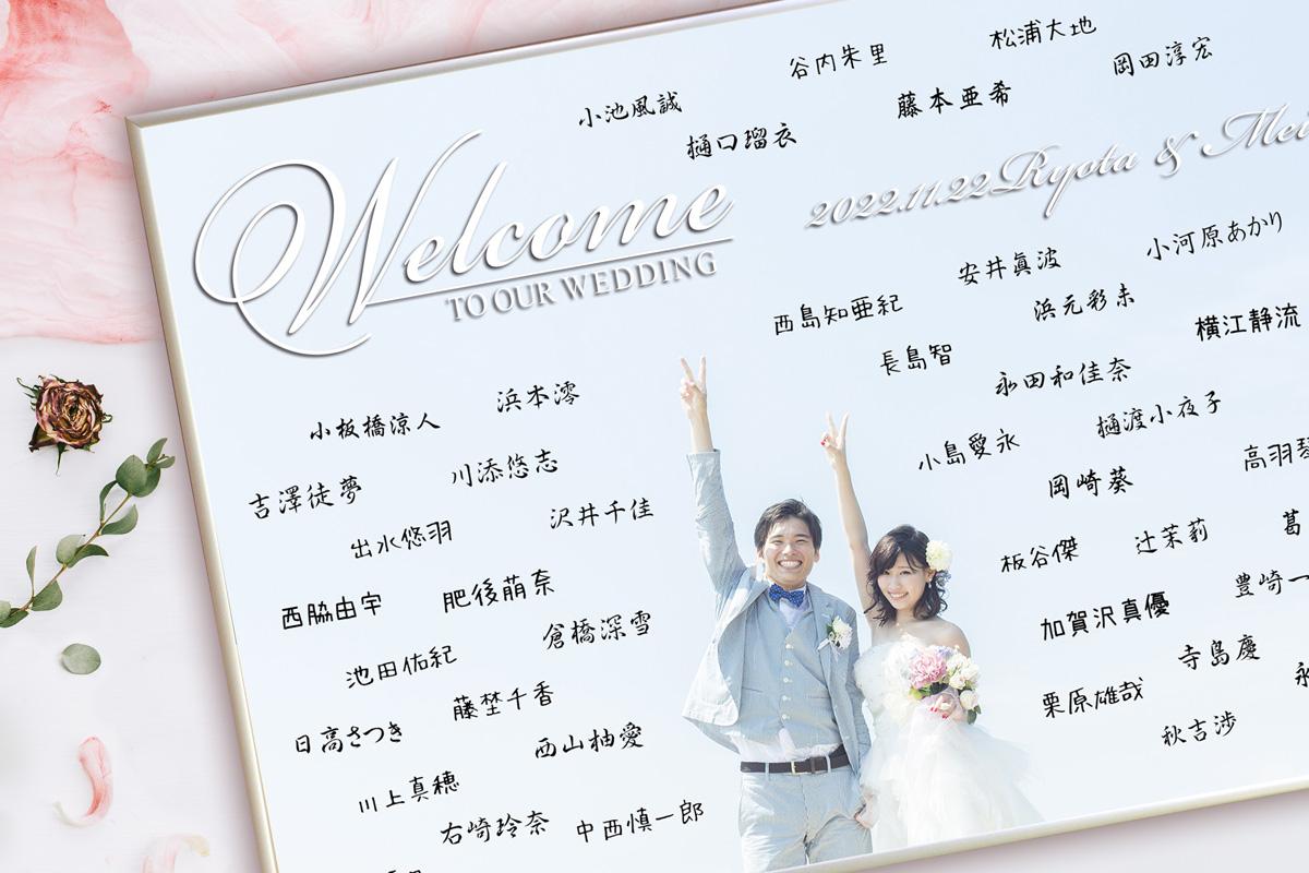 日本語でのゲスト参加結婚証明書ウェルカムボード