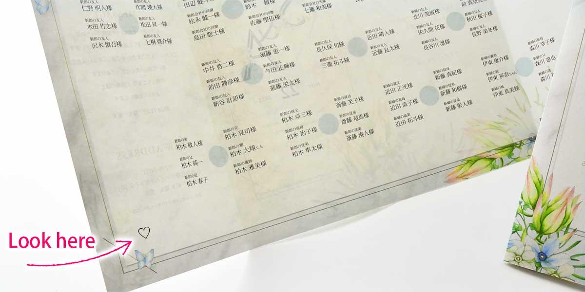 席次表の端っこに小さく当たりのハートマークを書いている