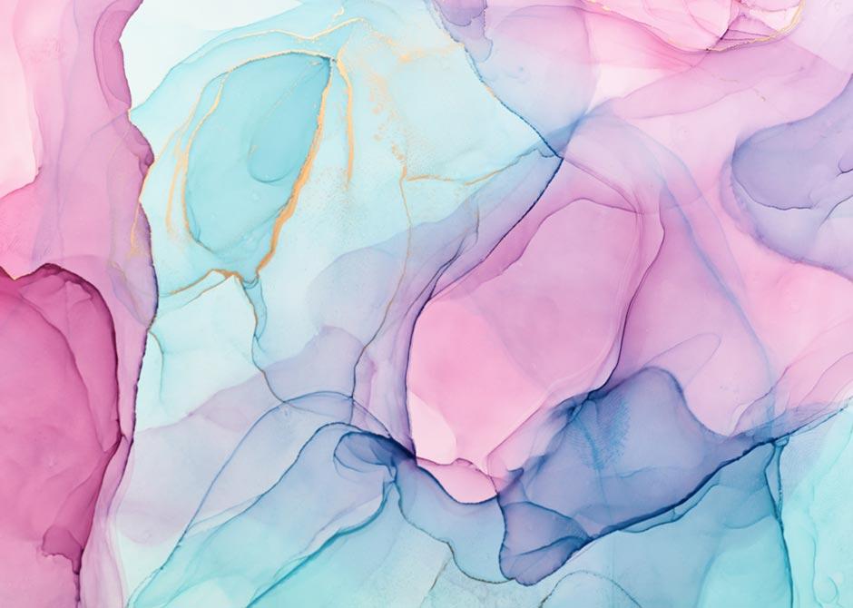 アルコールインクアートで描いたピンクとブルーの模様