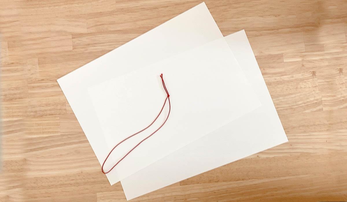 用紙と綴じ紐ゴムの見本