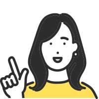 指差ししている黒髪女性イラスト