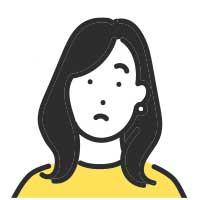 疑問を持った黒髪女性イラスト
