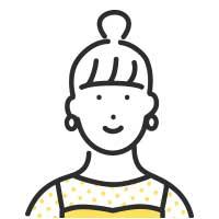 笑顔のお団子頭の女性イラスト