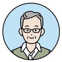 眼鏡をかけたシニア男性イラスト