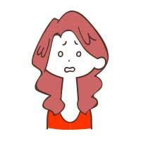 ガーンとした表情の女性イラスト