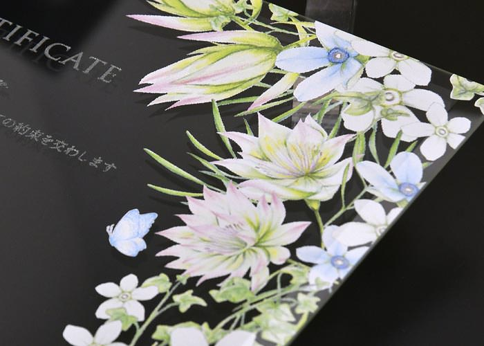 ガラスの結婚証明書 ブルースター幸せな意味をもつ可憐なお花を咲かせて