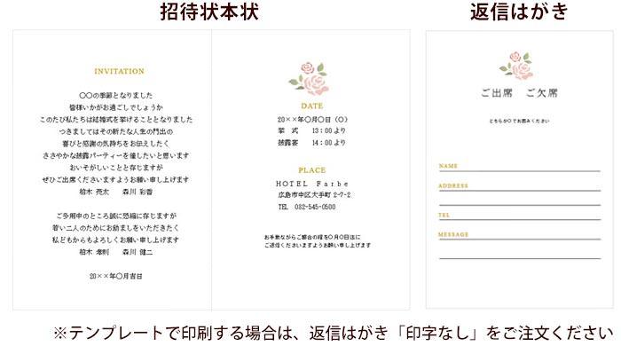 招待状手作りセットローズ・マダーテンプレートイメージ