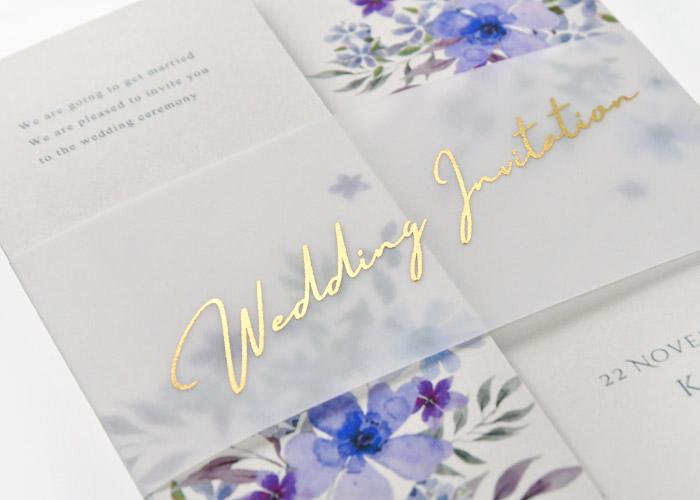 可憐で幸福な花を咲かせたカルムフラワー招待状表紙のデザイン