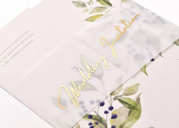 可憐で幸福な花を咲かせたカルムリーフ招待状表紙のデザイン