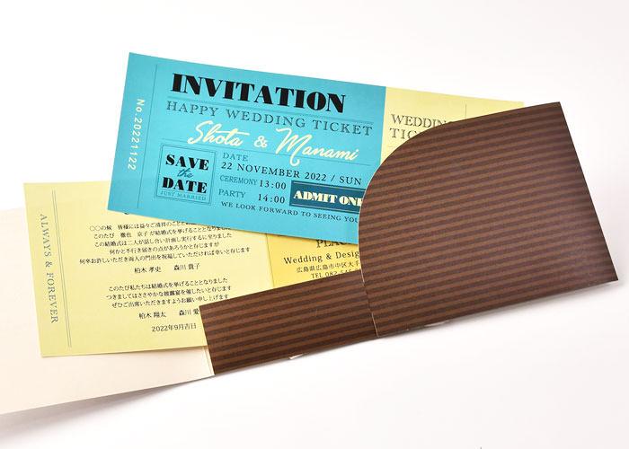 チケットホルダーにはチケット風招待状本状が2枚セットされています