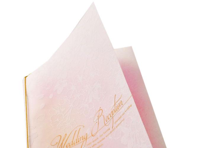 結婚式席次表エルム半透明のペーパーに白柄模様をプリント
