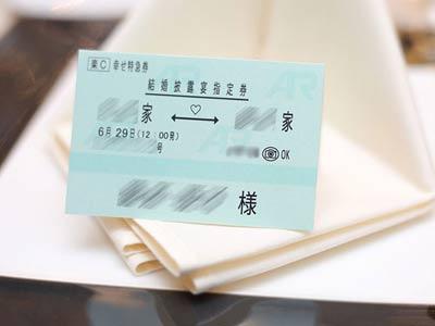 新幹線チケット風席札実際に結婚式で使われたお客様の声