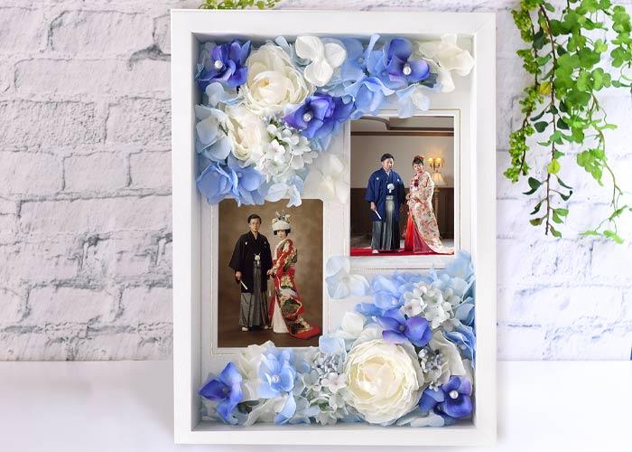 親子二代の結婚式のお写真を並べて入れて感動のギフトに
