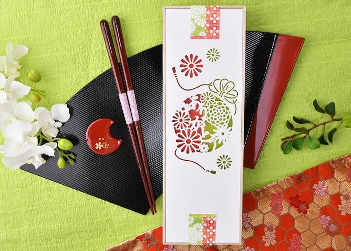 名入れ桐箱夫婦箸&箸置きセット