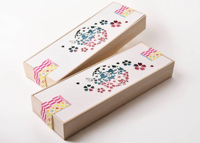 メッセージカード付夫婦箸&箸置きセット箱のデザイン