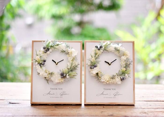 花時計「クロックブランリース」/結婚式両親プレゼント