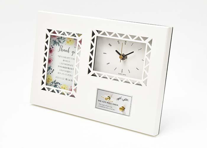 オルゴールメッセージカード付時計「ナチュラルフラワー」のデザイン