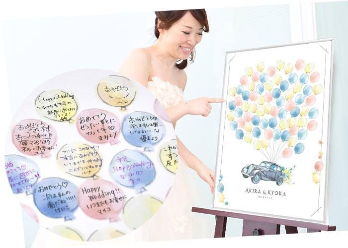 ゲスト参加型寄せ書きメッセージウェルカムボード「ウェディングカー」