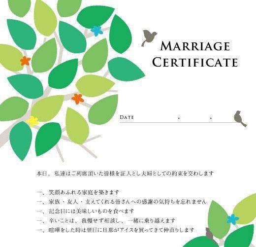 結婚証明書文例