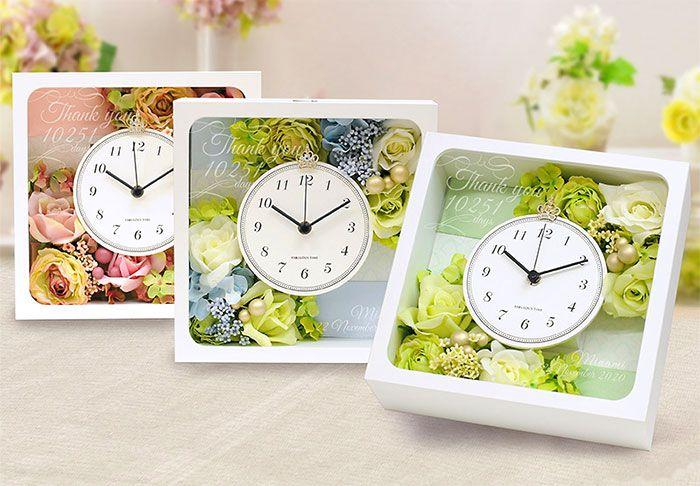 ガラス彫刻花時計