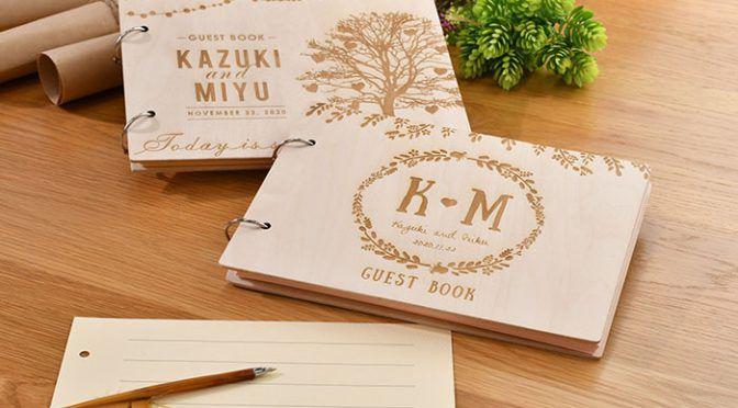 カスタムオーダーも可能な木のゲストブック・木の芳名帳