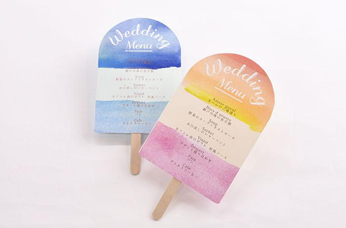 アイスキャンディーの形のメニュー表
