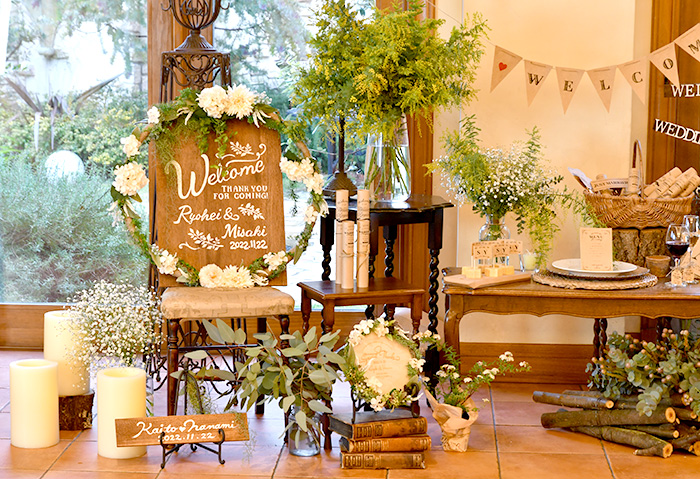 ウェルカムボード「木製ペイントボード手描き」. 結婚式