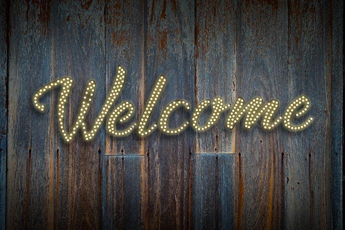 welcomeの文字