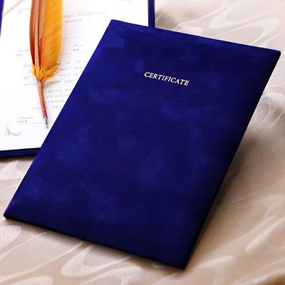 ベロア調の結婚証明書