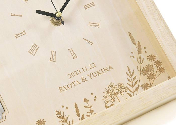 フォトフレーム付き木製時計「アルベロ」