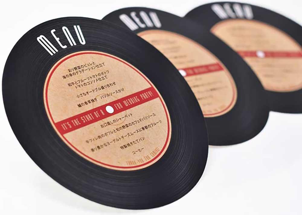 メニュー表「レコード」完成品オーダー(印刷込)