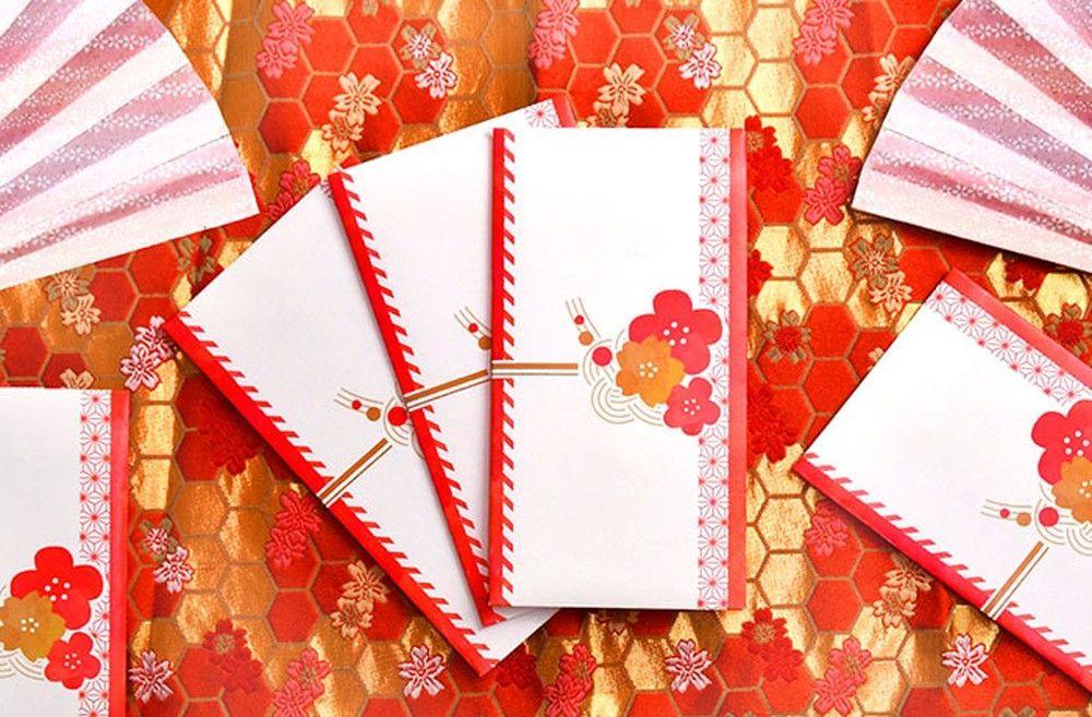 和モダンレトロなイラストがかわいい「花結び」(10枚入)心付け・御礼封筒