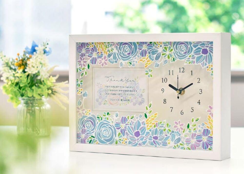 お花プリントフォトフレーム時計(メッセージ付)「ローズ」