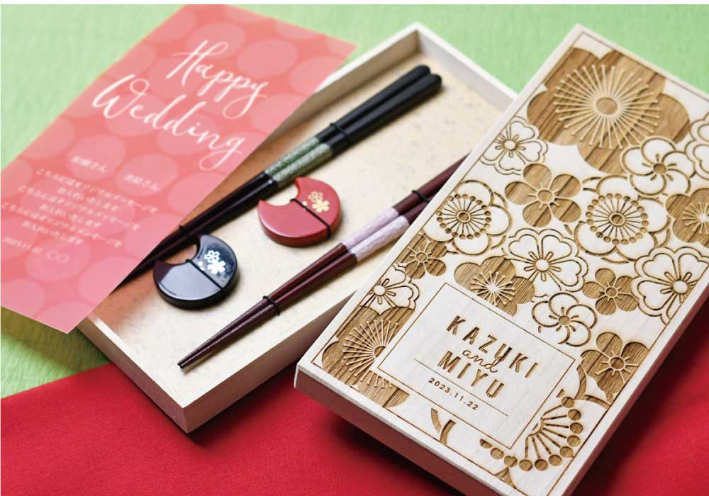 結婚祝いギフト 名入れ桐箱 夫婦箸&箸置きセット