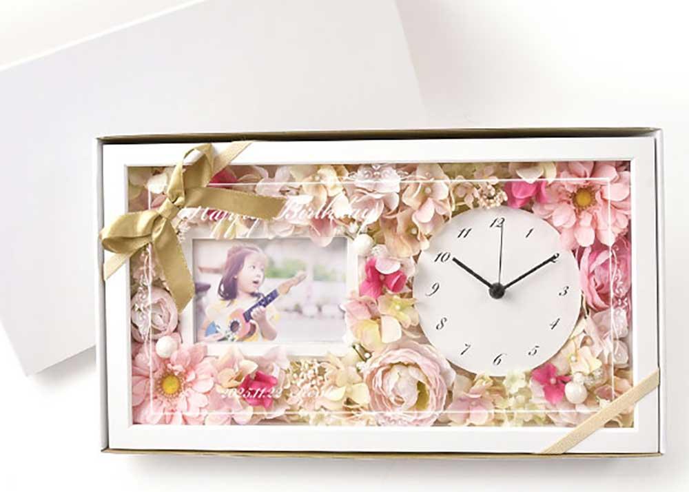 【お祝い工房】花時計フォトフレーム付き