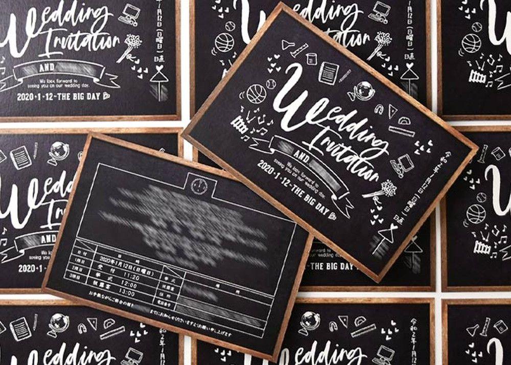 オリジナル実例黒板風招待状