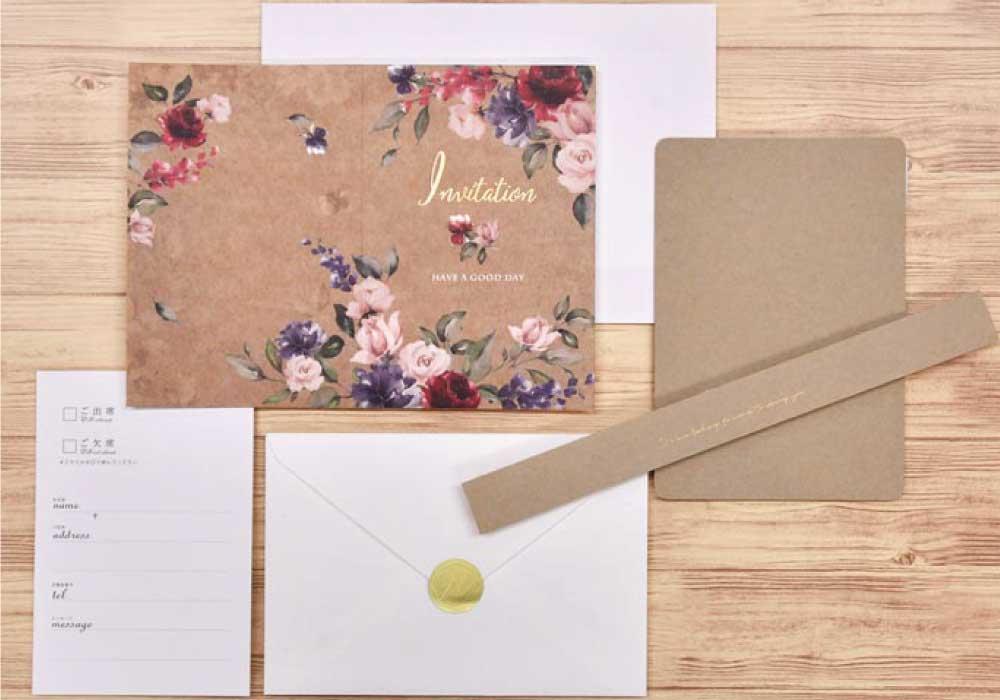 招待状DIY手作りセット「ローズ・マダー」