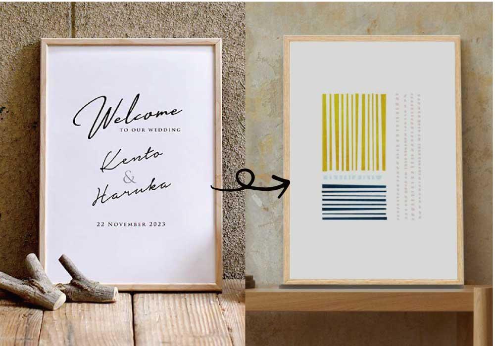 白地に黒字で名前と日付が入った木製フレームのシンプルなウェルカムボードと北欧風デザインのポスター