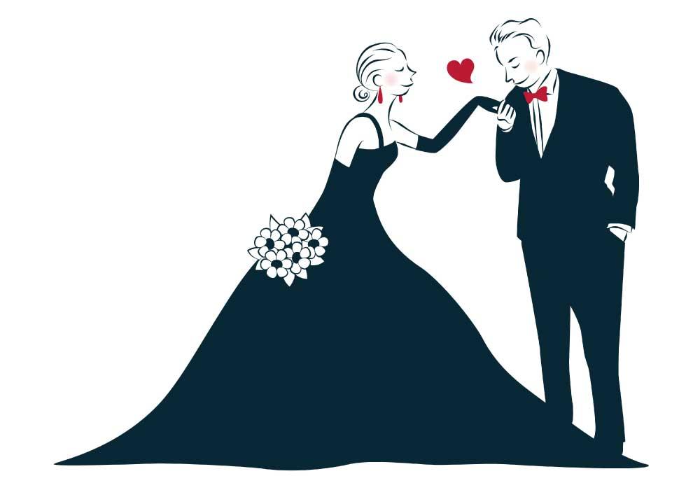 黒いドレスとタキシードの新郎新婦のイラスト