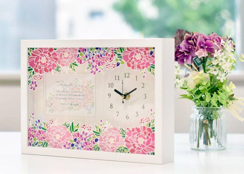 お花プリントフォトフレーム時計(メッセージ付)「牡丹」