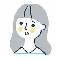 困った表情のロングヘアの女性イラスト