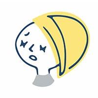 ボブヘアの困った表情で両目をつむる女性のイラスト