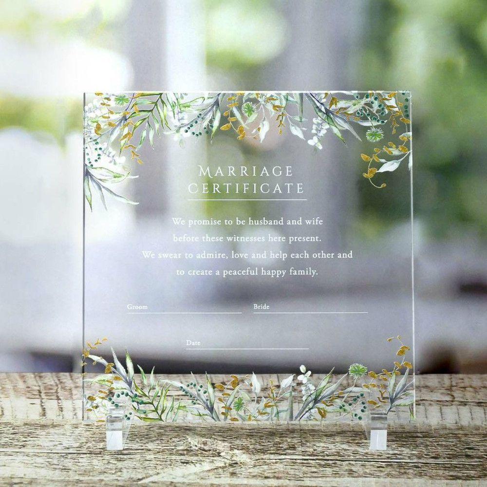 ガーデンウェディングやナチュラルウェディングにぴったりなリーフデザインのアクリル結婚証明書「グリーナ」