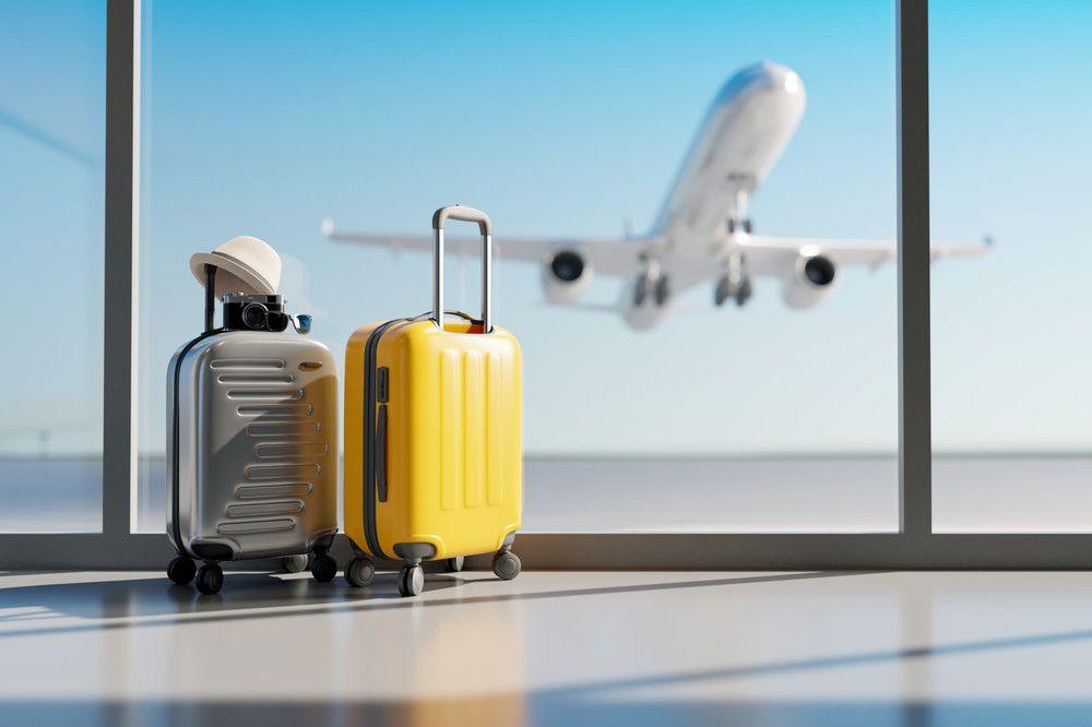 飛行機を背景にスーツケースが並んでいる