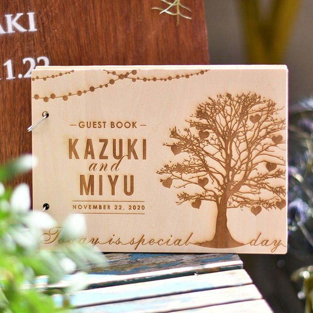 [海外風wood木の芳名帳]カスタムウッドゲストブック┃名入れ木製芳名帳┃