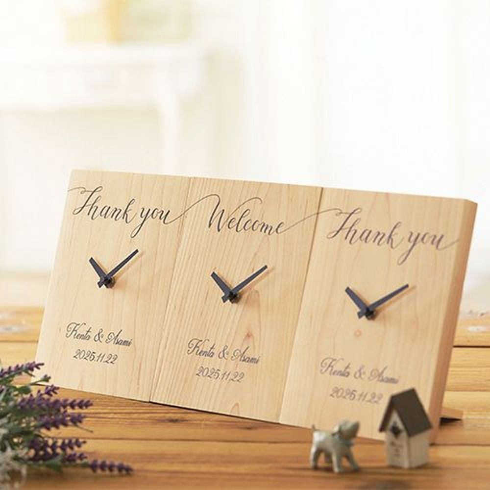 気持ちのつながる木製三連時計